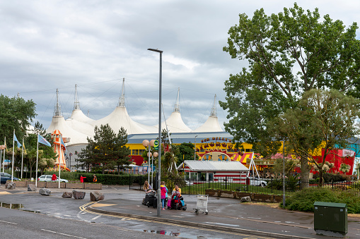 view of dodgems from a public road.