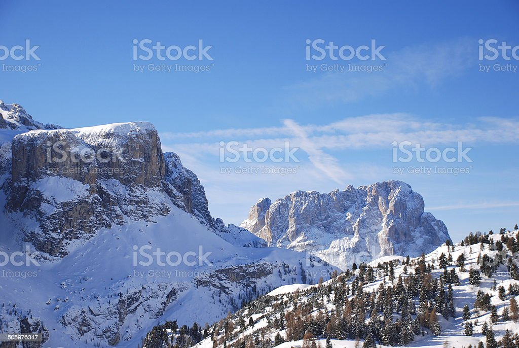 view of Dolomites mountain in Val Gardena stock photo
