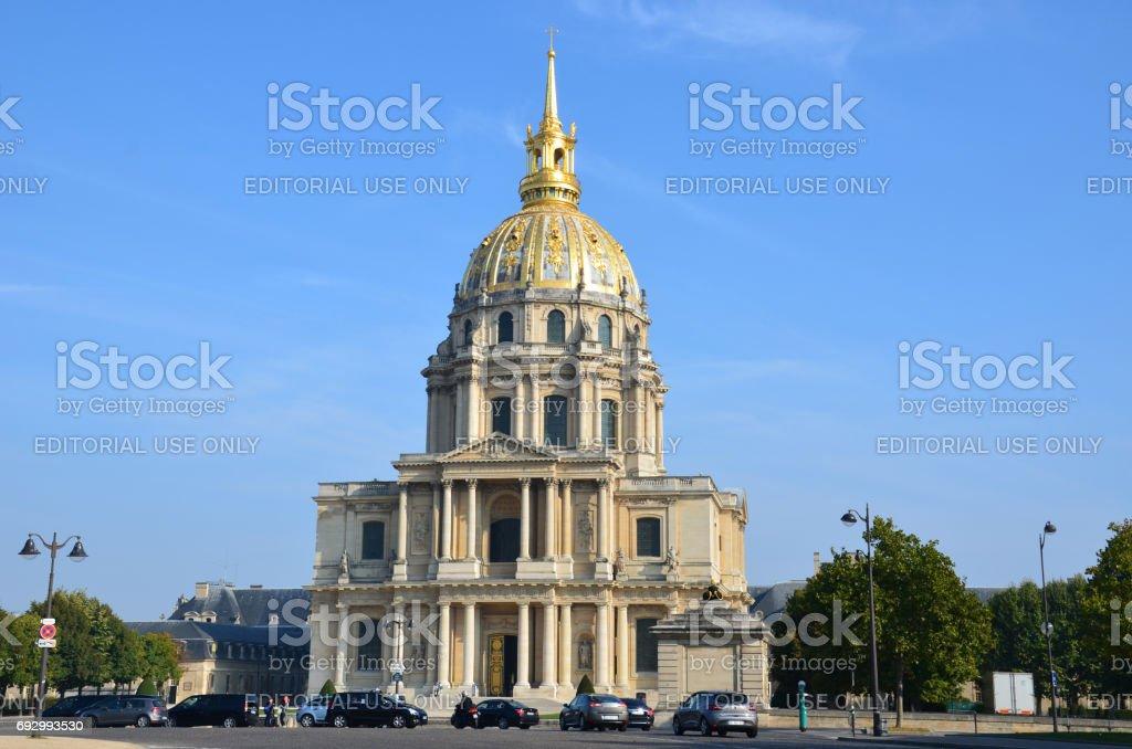 View of Dome des Invalides, burial site of Napoleon Bonaparte, Paris, France stock photo