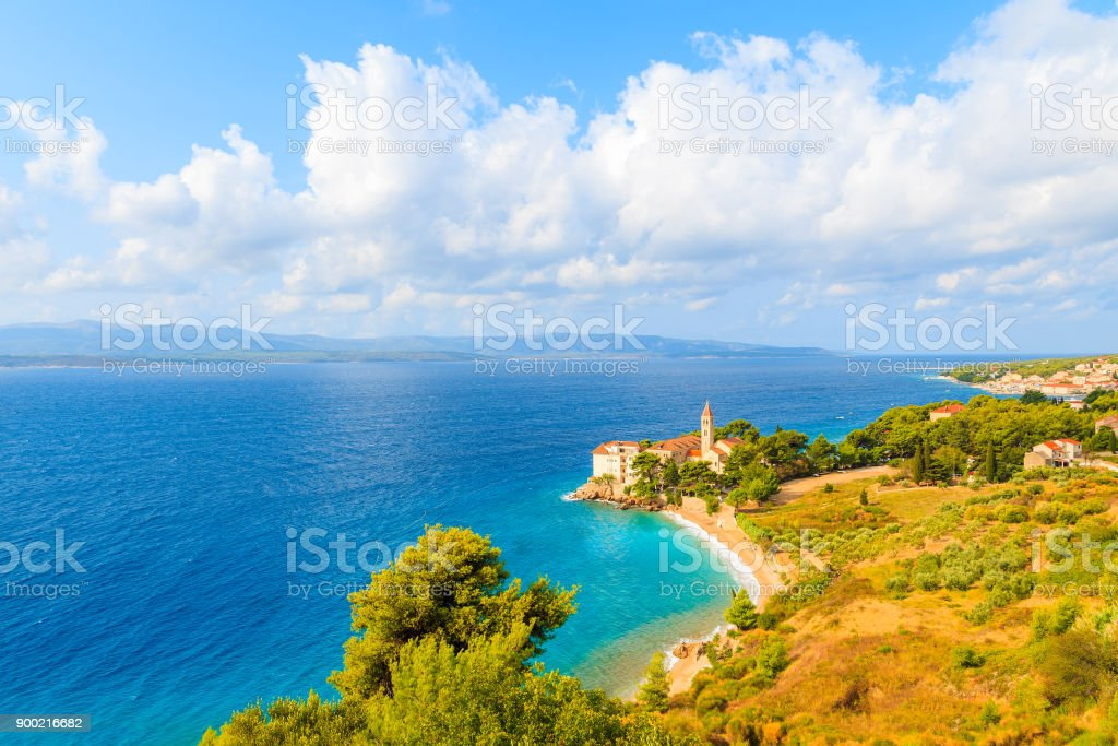 View of Dominican monastery in beautiful bay with beach, Bol town, Brac island, Croatia stock photo