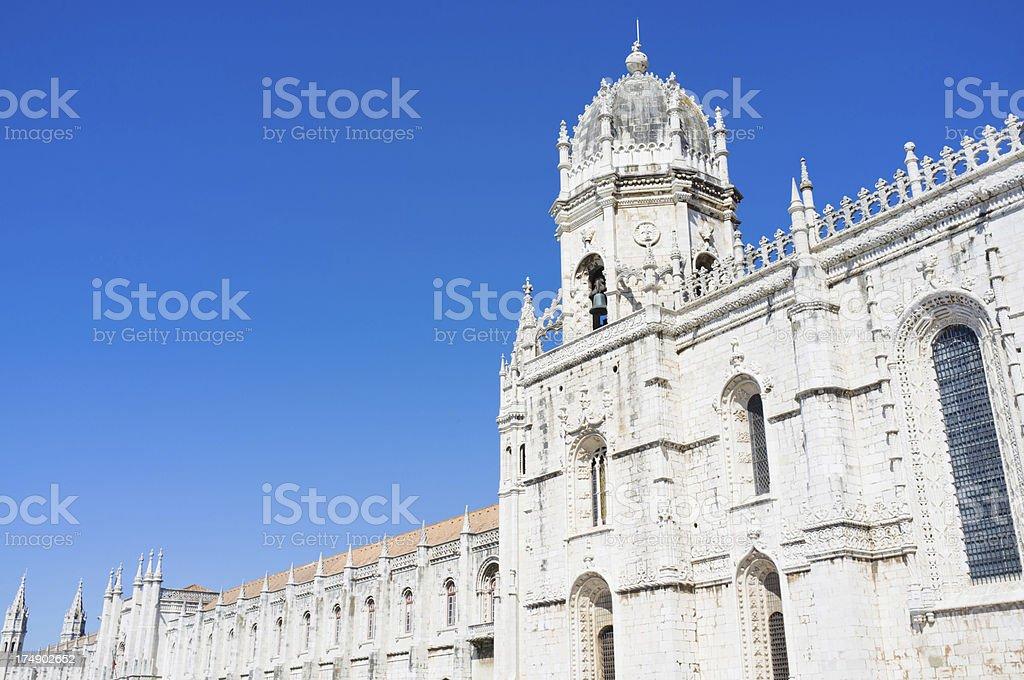view of Dos Jeronimos Monastery exterior facade royalty-free stock photo