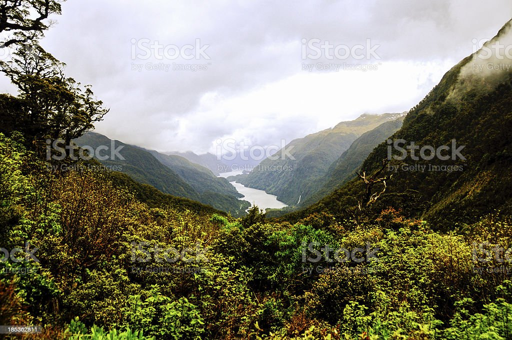 View of Doubtful Sound from Wilmot Pass stock photo