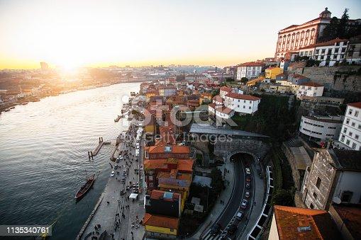 View of Douro river and Ribeira from Dom Luis I bridge, Porto, Portugal.