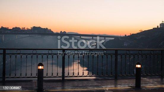 View of Douro river from Dom Luis I bridge at dawn, Porto^ Portugal.