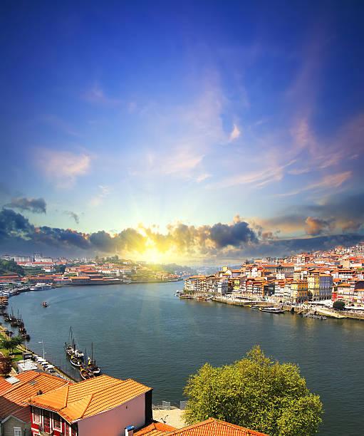 view of Douro riverside and Dom Luiz bridge  Porto Portugal stock photo