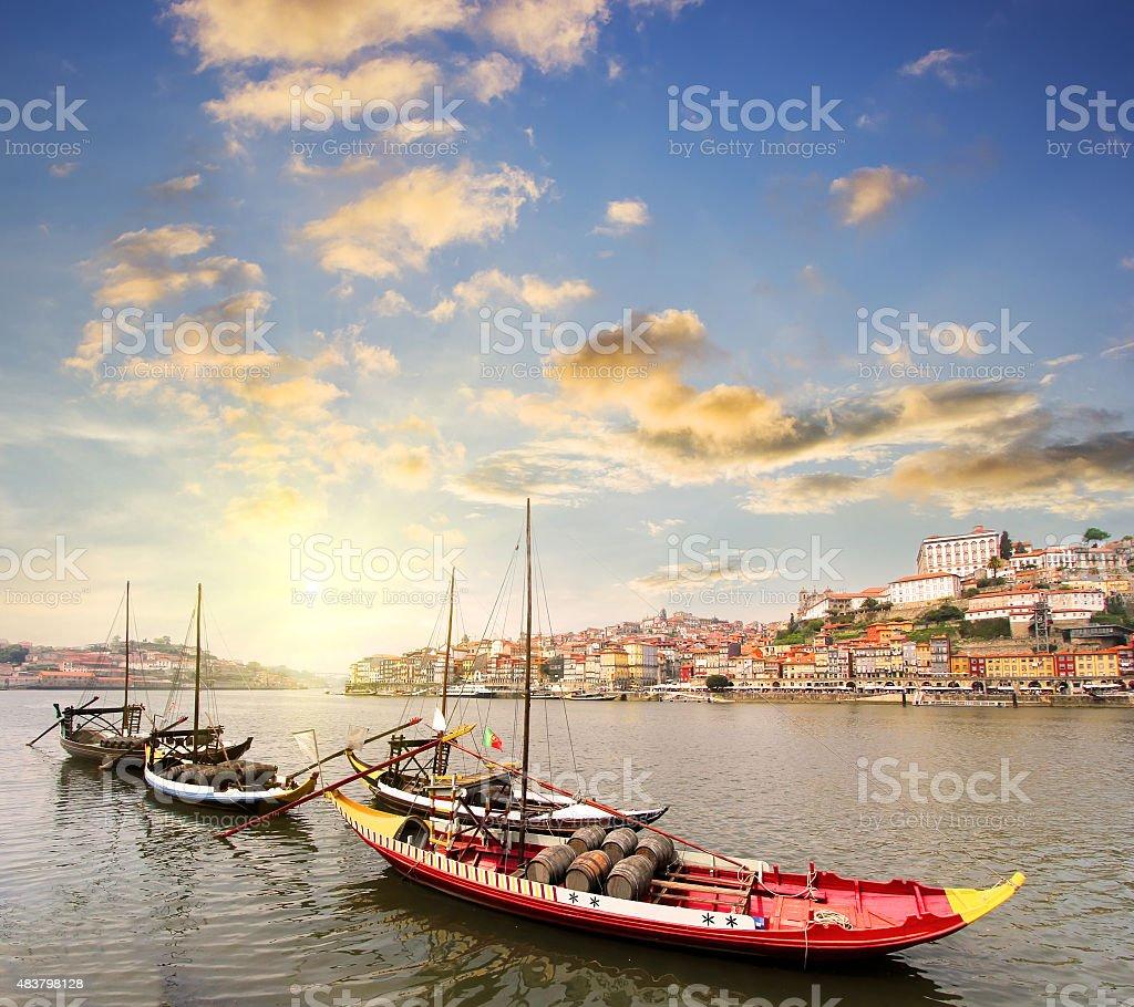 view of Douro riverside in Porto , Portugal stock photo