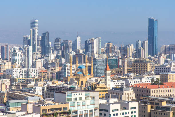 view of downtown beirut on a sunny day. - beirut foto e immagini stock