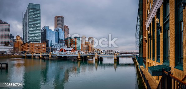 Photo looking over the water, across Fort Point Channel