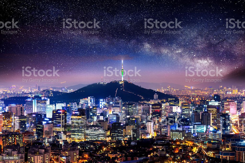 View of downtown cityscape and Seoul tower in Seoul. stock photo