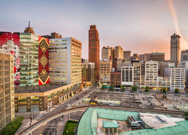 View of downtown Detroit, USA View of downtown Detroit, USA detroit michigan stock pictures, royalty-free photos & images