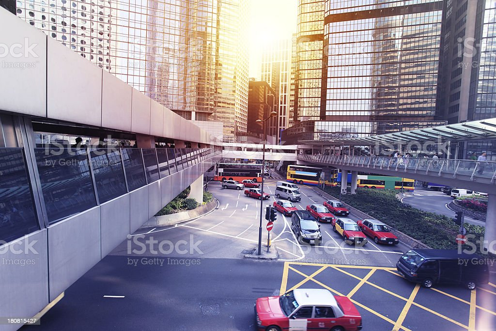 View of Downtown District in Hong Kong royalty-free stock photo