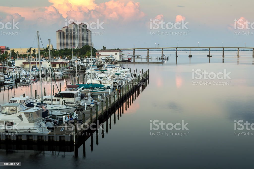 View of Downtown Fort Myers, Florida at Sunrise stock photo