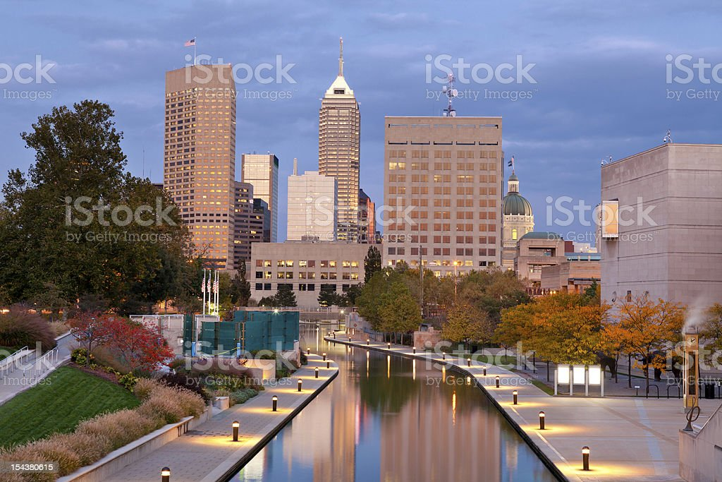 View of downtown Indianapolis in autumn stock photo