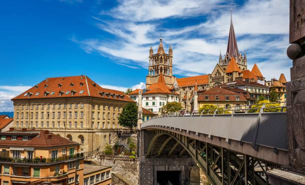 Vue du centre-ville de Lausaunne - Suisse - Photo