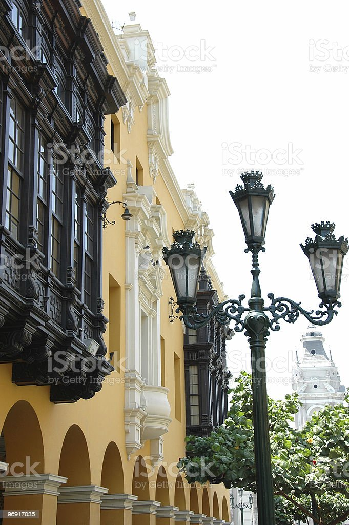 View of downtown Lima Peru with colonial  balcony royalty-free stock photo