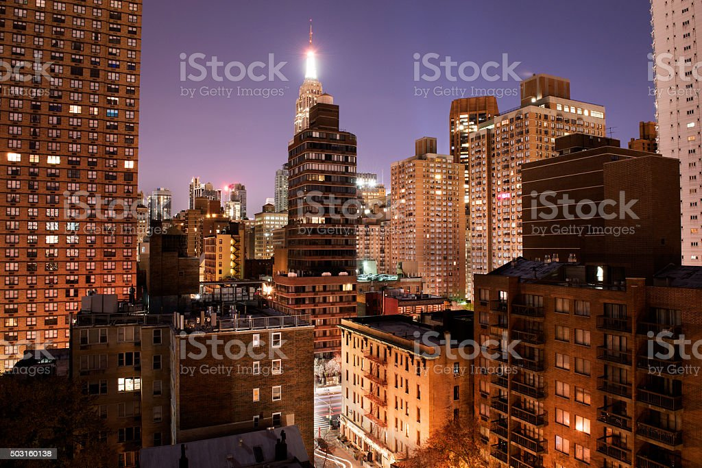 View of downtown Manhattan at night from my window stock photo