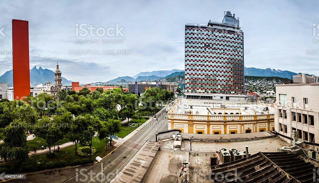 View of downtown Monterrey in Mexico stock photo
