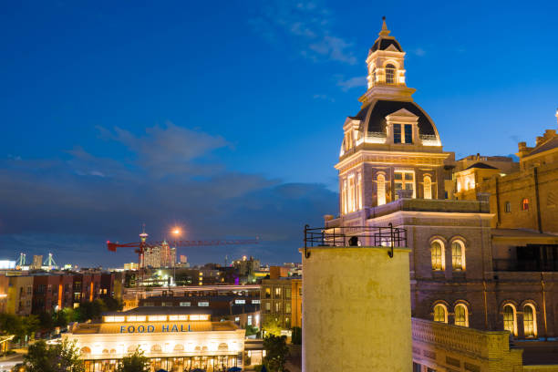 View of Downtown San Antonio from Pearl Brewery at Dusk stock photo