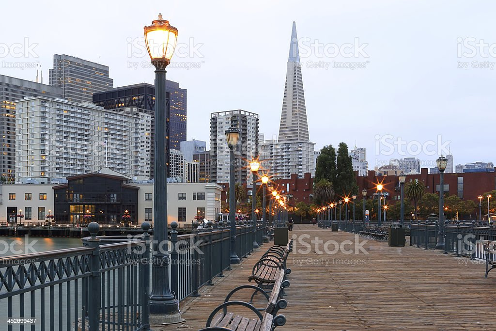 A view of downtown San Francisco and the seaport stock photo