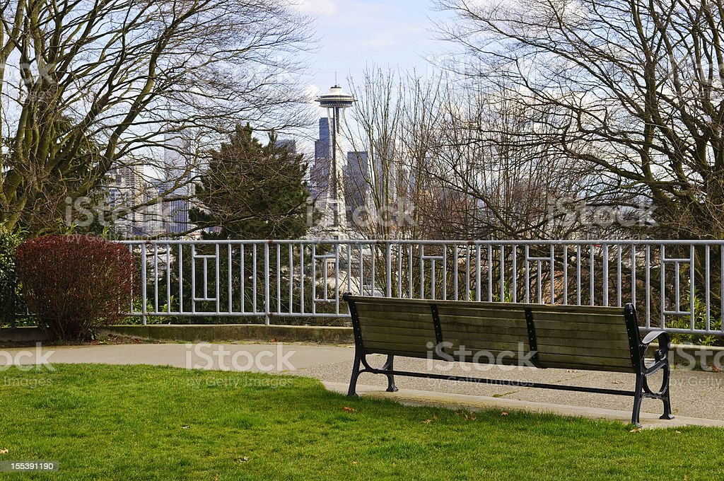 Seattle skyline and bench in Kerry Park stock photo