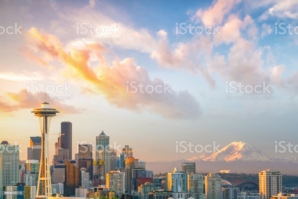 View of downtown Seattle skyline stock photo