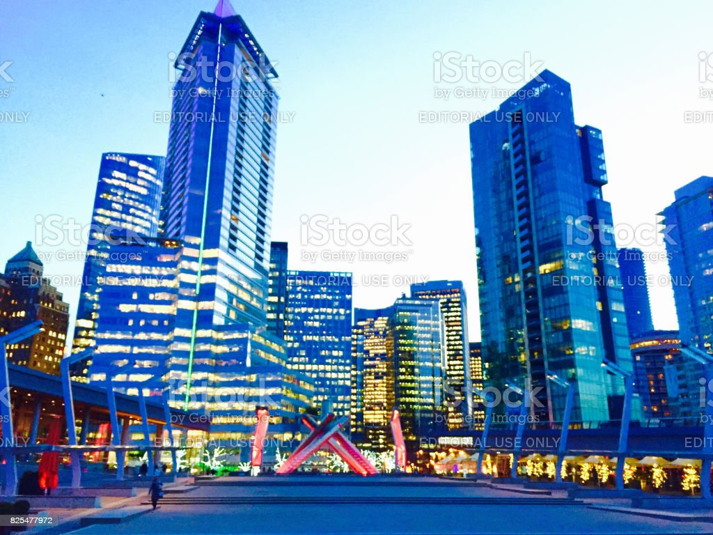 View of downtown Vancouver from Coal Harbor stock photo