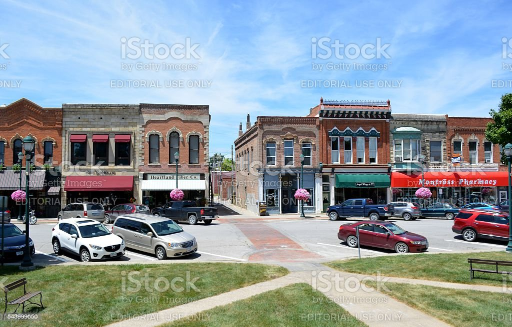 View of downtown Winterset, Iowa stock photo