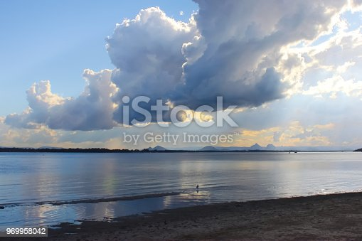 istock View of dramatic clouds and early sunset looking from Bribie Island over the Pumicestone Passage to the Glass Mountains in Queensland Australia 969958042