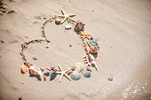 view of drawn love heart symbol on sand beach summer vacation