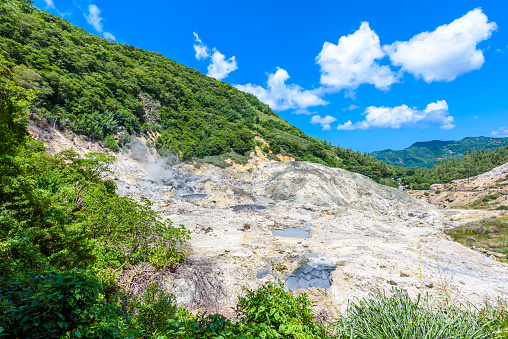 View Of Drivein Volcano Sulphur Springs On The Caribbean Island Of St Lucia La Soufriere Volcano Is The Only Drivein Volcano In The World Stock Photo - Download Image Now