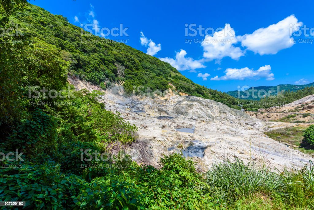 View of Drive-In Volcano Sulphur Springs on the Caribbean island of St. Lucia. La Soufriere Volcano is the only drive-in volcano in the world. - Royalty-free Antilles Stock Photo