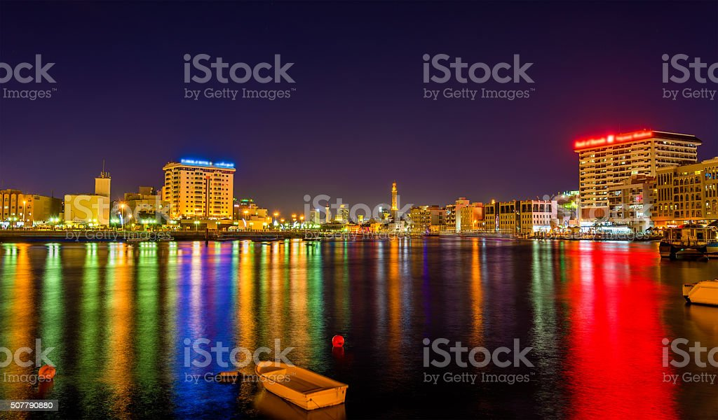 View of Dubai Creek in the evening, UAE stock photo
