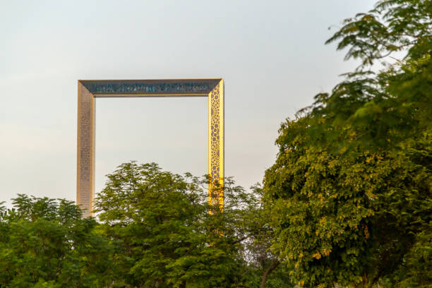 UAE, DUBAI, CIRCA 2021: View of Dubai Frame building between palm branches on a blue clear sky background. stock photo