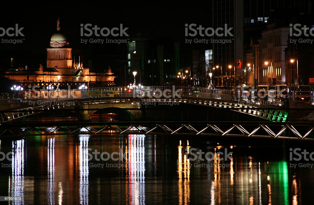 View of Dublin at night from the river royalty-free stock photo