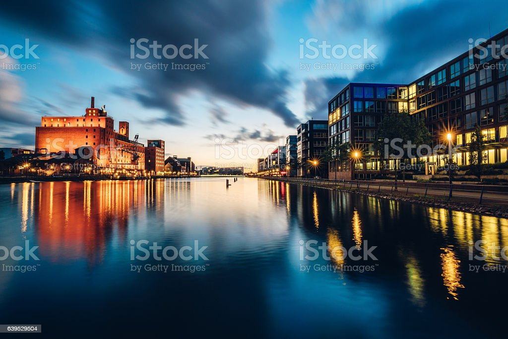 view of Duisburg Inner Harbour at dusk stock photo