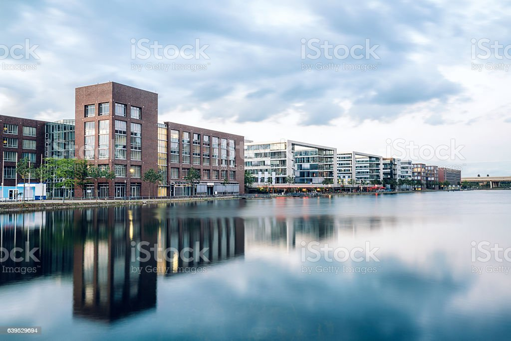 View of Duisburg Inner Harbour, Germany stock photo