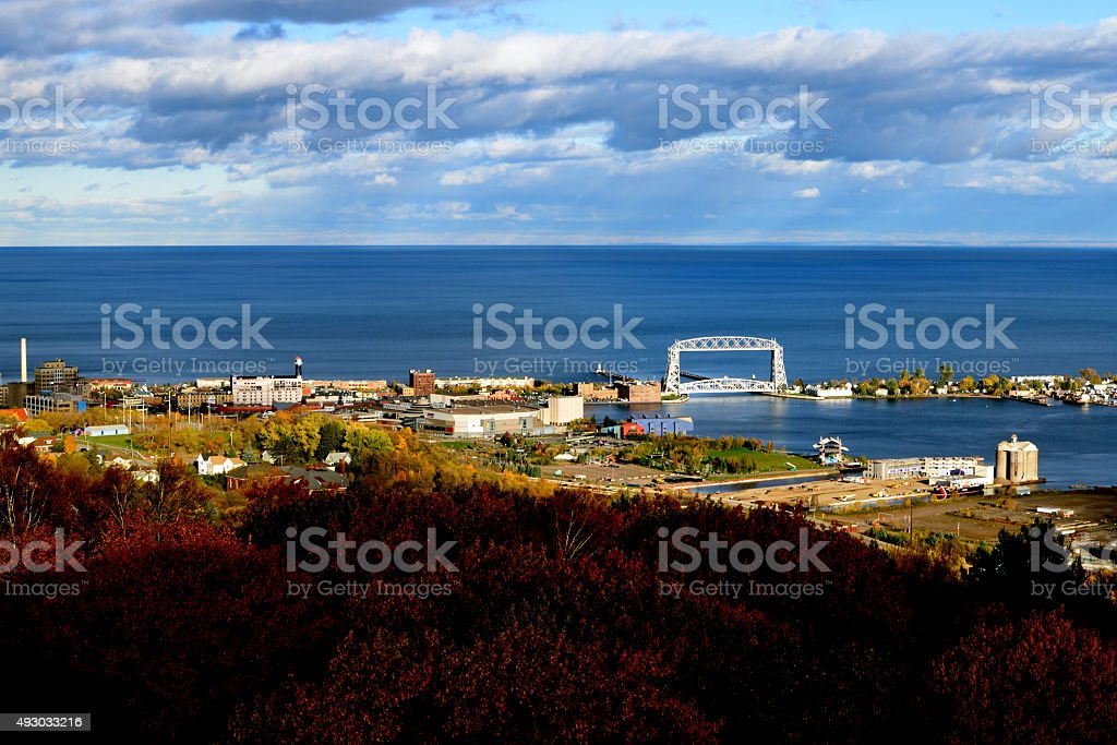 View of Duluth in Fall stock photo