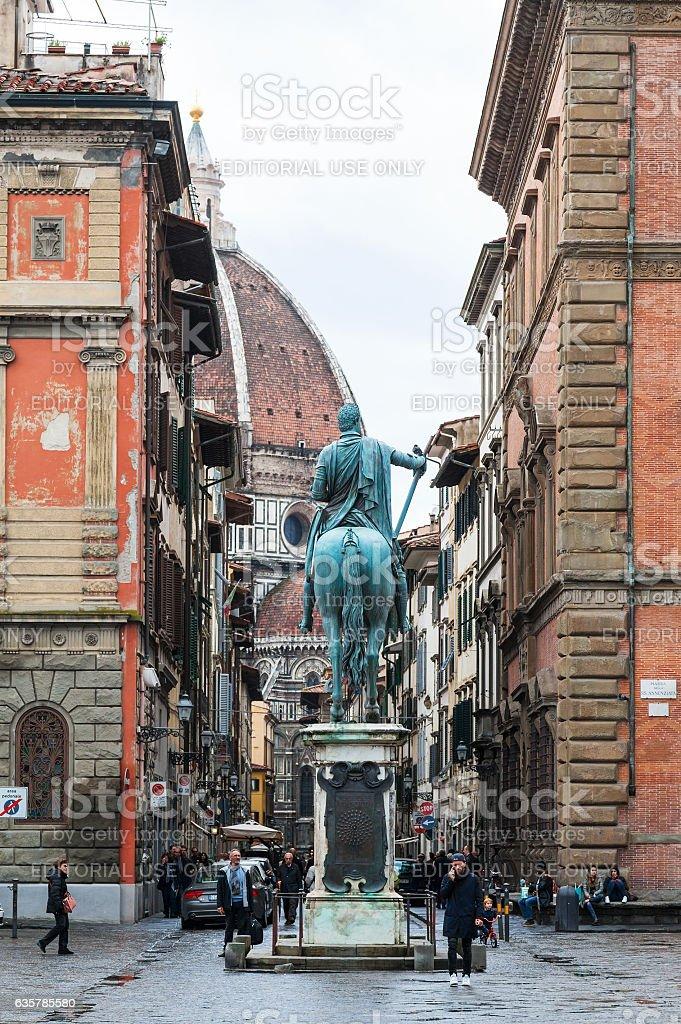 view of Duomo from Piazza Santissima Annunziata stock photo