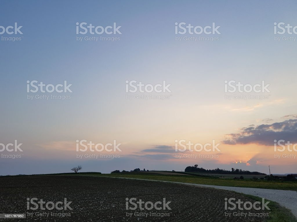 A view of dusk on a summer day stock photo