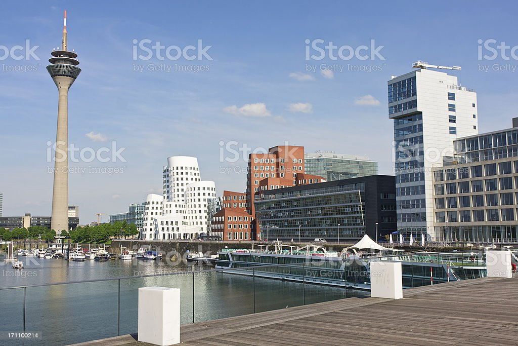 View of Dusseldorf Media Harbor (Medienhafen). Germany. stock photo
