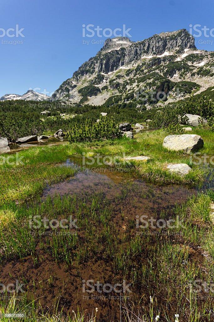 view of Dzhangal peak and Banski lakes, Pirin Mountain, Bulgaria royalty-free stock photo