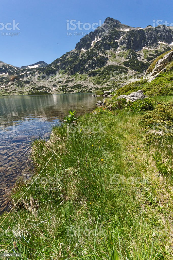 View of Dzhangal peak and Popovo lake, Pirin Mountain, Bulgaria royalty-free stock photo