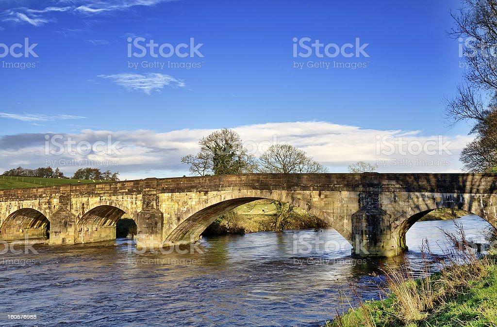 View of Eadsford Bridge, Clitheroe. stock photo