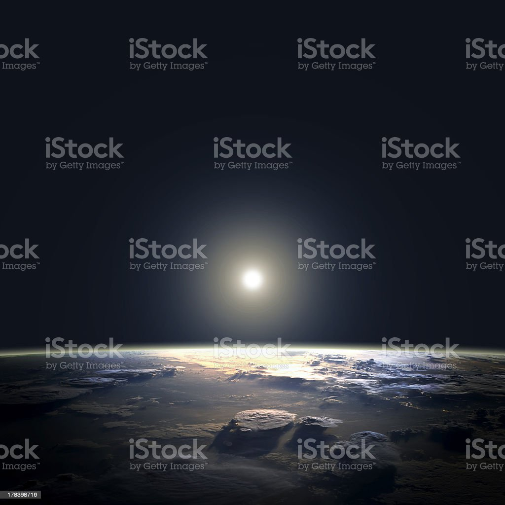 View of earth and sun from space orbit royalty-free stock photo
