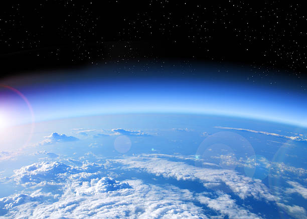 View of Earth from space view of the Earth from space, blue planet and deep black space planet earth stock pictures, royalty-free photos & images