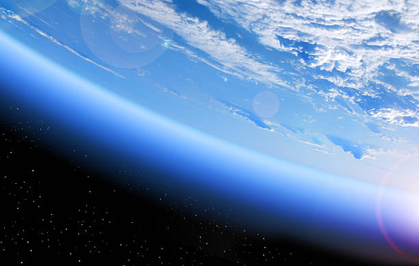 view of earth from space - stratosphere stock pictures, royalty-free photos & images