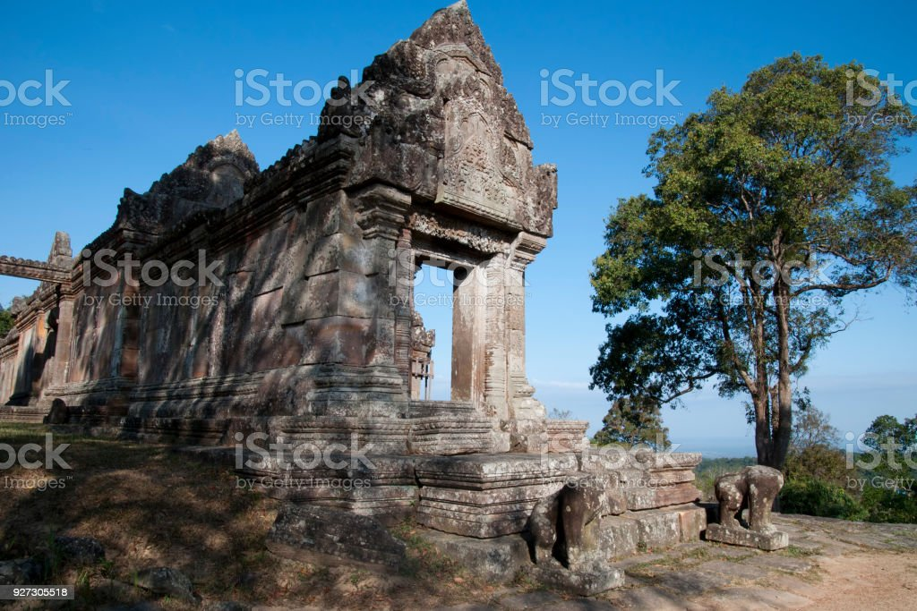 View of eastern entrance to Gopura IV at the 11th century Preah Vihear Temple complex stock photo
