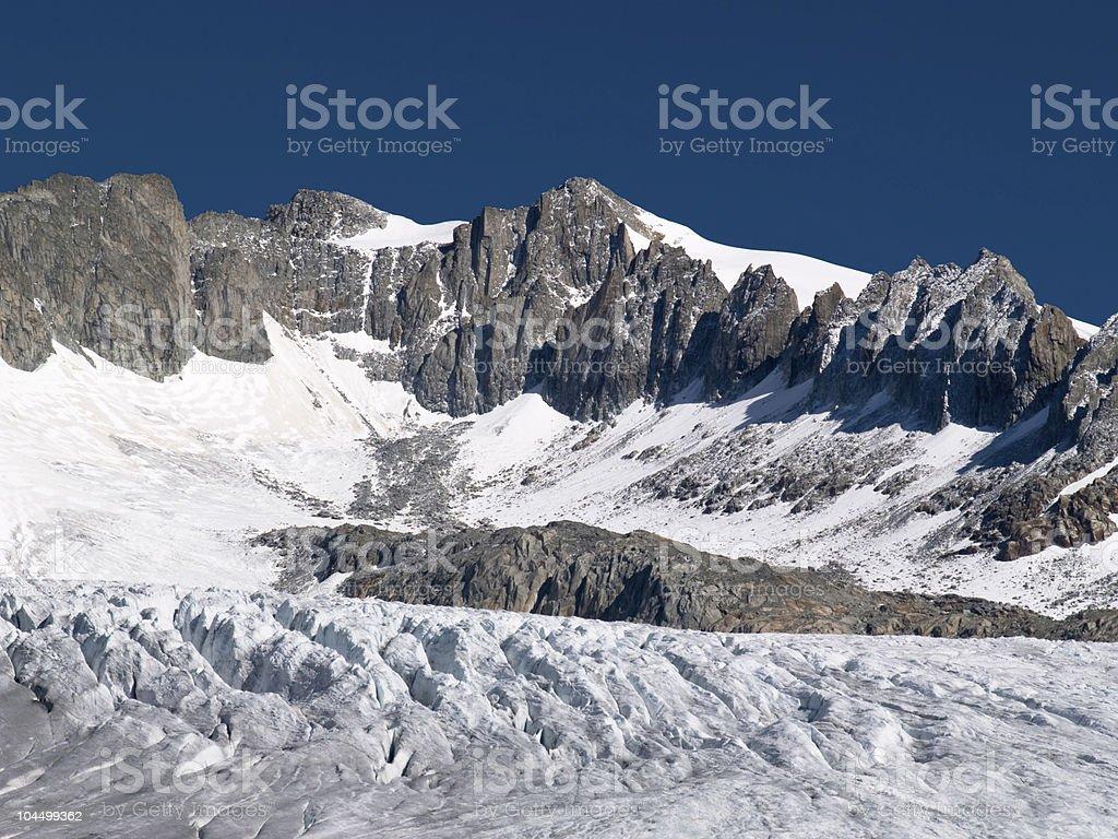 View of edge Rhone glacier, Switzerland stock photo