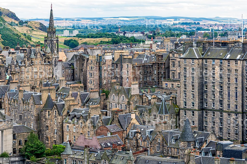 View of Edinburgh Old Town is Scotland, United Kingdom. stock photo