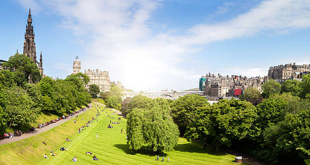 View of Edinburgh Panorama View of Edinburgh Panorama princes street edinburgh stock pictures, royalty-free photos & images
